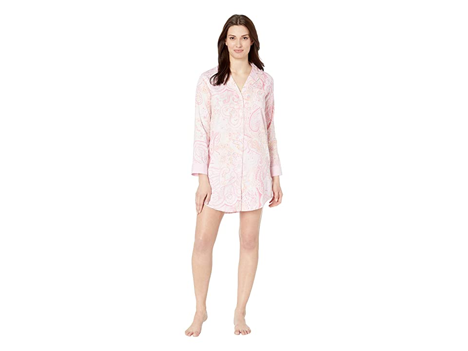 LAUREN Ralph Lauren Pointed Notch Collar Sleepshirt (Pink Paisley Print) Women