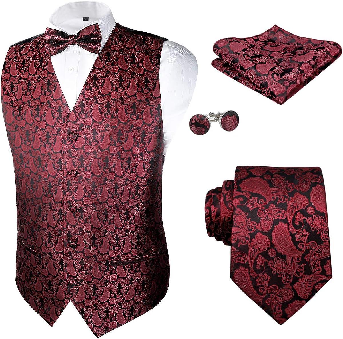 Alizeal Mens Classic 5 Sale Pcs Vest Jacquard Suit Set Paisley Max 59% OFF