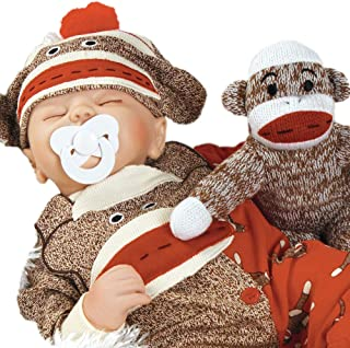 Paradise Galleries Reborn Baby Doll That Looks Real Sock Monkey Business, 17 inch Sleeping Boy Doll, 5-Piece Doll Ensemble