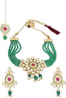 Zaveri Pearls Green Pink Multistrand Choker Necklace Earring & Maangtikka Set For Women-ZPFK11003