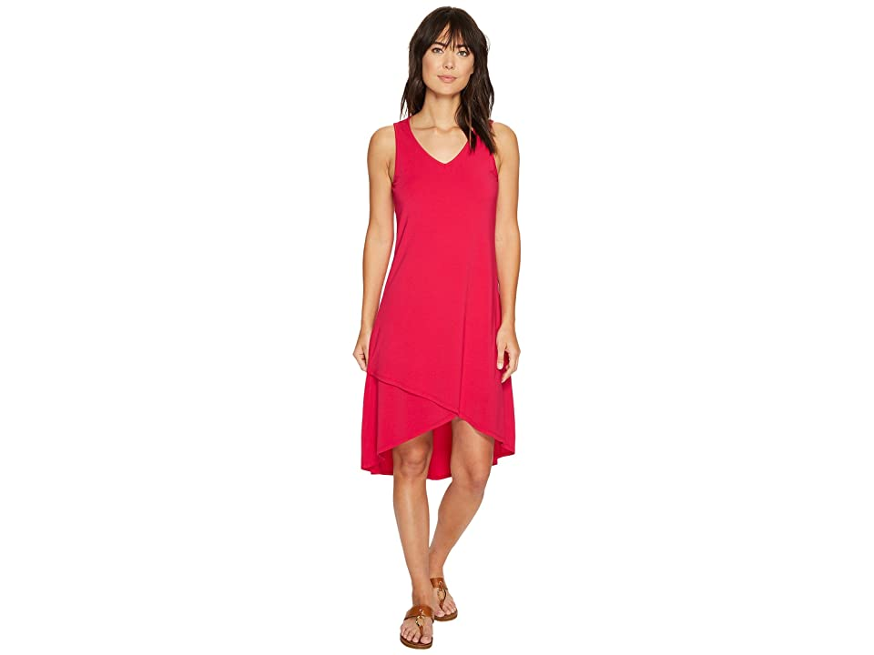 Mod-o-doc Cotton Modal Spandex Jersey Crossover Hem Dress (Berry Red) Women