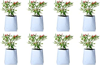 ROCHFERN Plastic Grow Bag, White, 60Cm X 36Cm X 24Cm, 8 Pieces