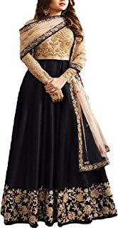 Ethnic Empire Women's Banglori Silk Semi-stitched Anarkali Salwar Suit (Ethnic-ER10801_Black_Free Size)
