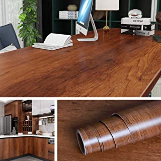 Livelynine 197 x 36 Inch Wide Wood Contact Paper Kitchen Cabinet Peel and Stick Wallpaper Wood Grain Adhesive Paper for Fu...