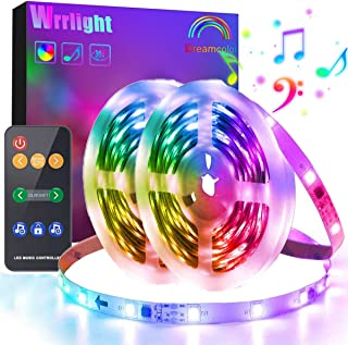 Dreamcolor Led Strip Lights Music Sync, Wrrlight 32.8 RGB Light Strip Kits with Remote for, Bedroom, TV, Kitchen,Waterproof Color Changing Light Strip SMD5050 with 3M Adhesive, 12V Power Supply
