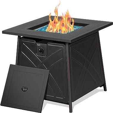 "BALI OUTDOORS Firepit LP Gas Fireplace 28"" Square Table 50,000BTU Fire Pit, Black"