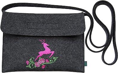 Krings fashion® Filztasche Tracht/Dirndltasche/Trachtentasche mit Stickerei Hirsch, Qualität aus Deutschland