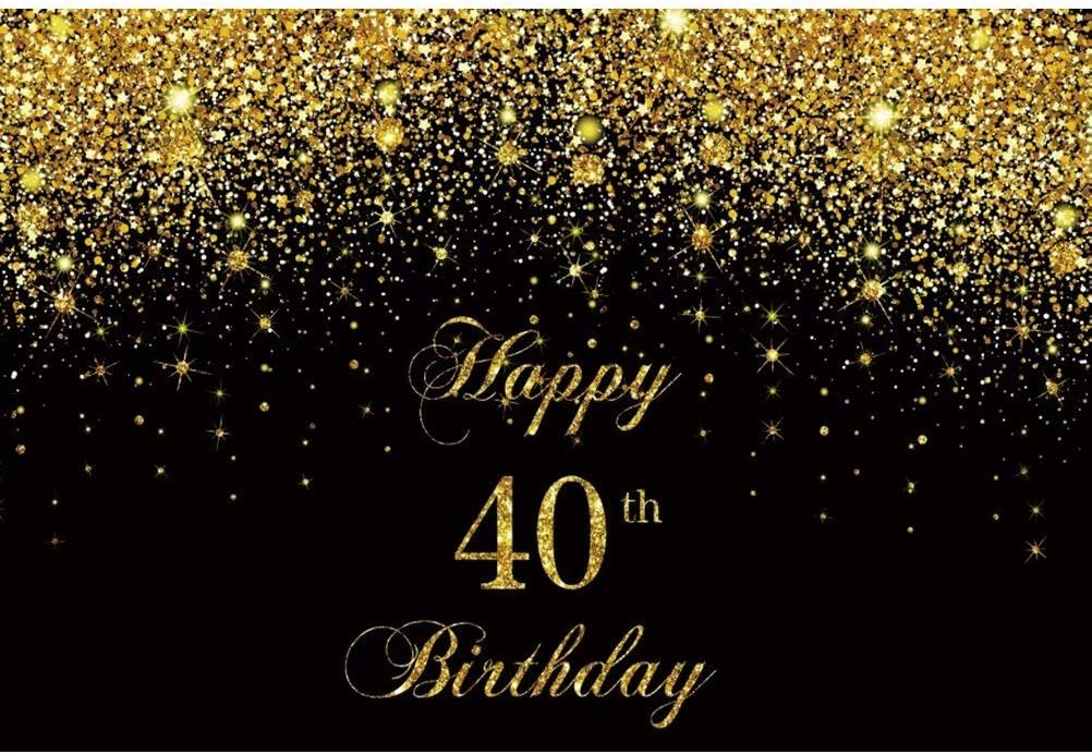 DaShan 14x10ft Happy 40th Birthday Backdrop Black and Gold Forty Birthday Decor Photography Background Glitter Dots Stars Women Men 40 Birthday Banner Adult Party Cake Table Decor Photo Props