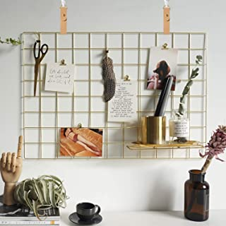 """FRIADE Gold Wire Wall Grid Panel for Photo Display,Display Ledge,Wall Storage Organizer for Kitchen,Living Room,Bedroom,10 Metal Clips&2 Leather Straps&3 Nails Offered,Set of 1 (Gold, 25.5""""x17.7"""")"""