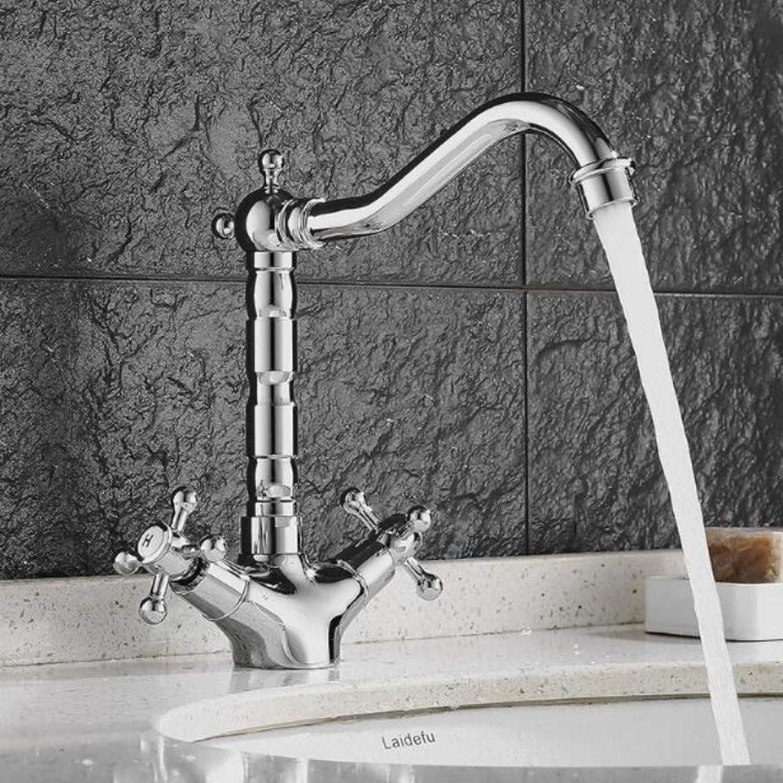 Lddpl Wasserhahn Klassische Vintage Chrom Farbe Bad Wasserhahn ktichen Wasserhahn Waschtischmischer zwei Handgriff Spültischmischer heien und kalten Wasserhahn