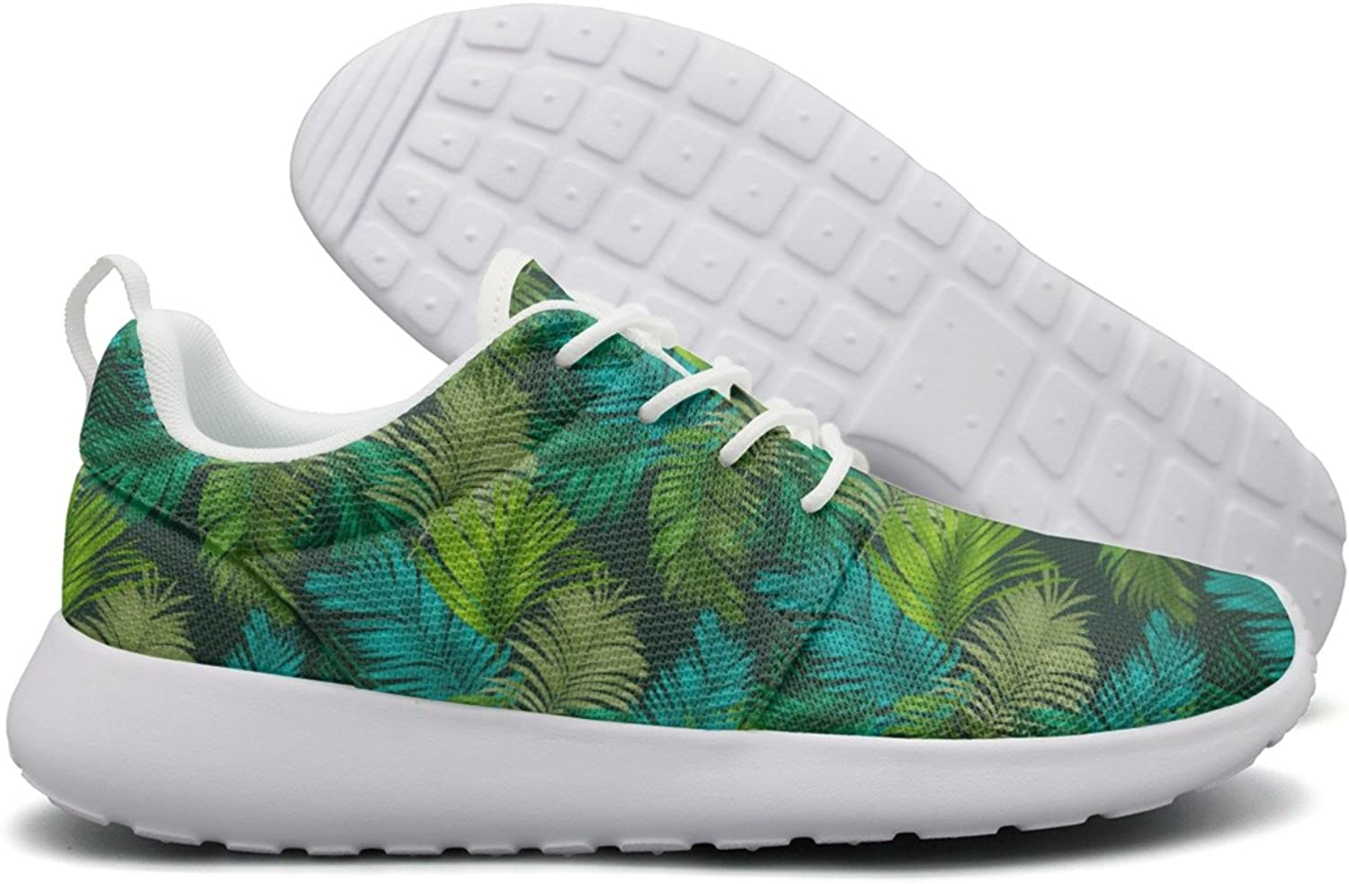 Green Tropical Palm Tree Women Neutral Running shoes Navy Comfortable