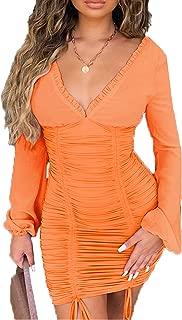 Womens Sexy Deep V Neck Chiffon Upper Frill Detailing Mini Party Dress