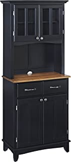 Buffet of Buffets Black with Cottage Oak Wood Top with Hutch by Home Styles, Small Server with Cottage Oak Wood Top & Hutch