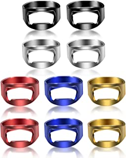 10 Pieces Ring Bottle Opener Stainless Steel Beer Bottle Opener Colorful Finger Bottle Opener for Party Family Gift Supplies