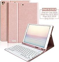 Teclado iPad 10.2 2019 Funda, Funda con Teclado Español para iPad 10.2 2019/iPad Air 3 10.5 2019/iPad pro 10.5 2017 con Ranura de Lápiz -Teclado Español Bluetooth Inalámbrico Desmontable (Champán)