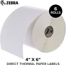 Zebra - 4 x 6 in Direct Thermal Paper Labels, Z-Perform 2000D Permanent Adhesive Shipping Labels, Zebra Desktop Printer Compatible, 1 in Core - 6 Rolls