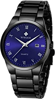 Wwoor Men's Quartz Date Watches Stainless Steel Strap Blue