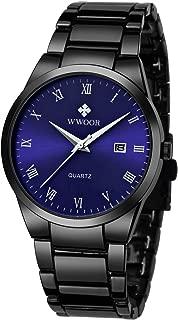 Wwoor Men's Quartz Date Watches Stainless Steel Strap Blue