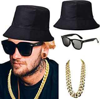 80s/90s Hip Hop Costume Kit - Cotton Bucket Hat,Gold Chain Beads,Oversized Rectangular Hip Hop Nerdy Lens Sunglasses