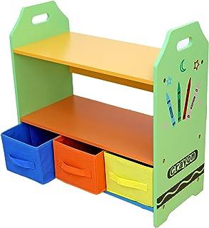 Kiddi Style Estantería Infantil + Almacenamiento - Madera - Par Ninos -Diseño de ceras de colores