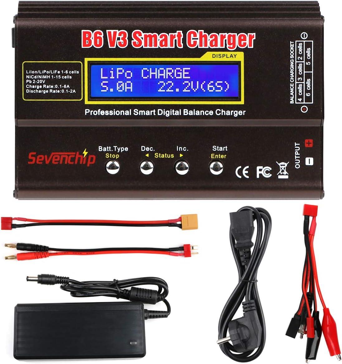 FancyWhoop B6 V3 Lipo Cargador de Batería 80W 6A RC Descargador de Batería para LiPo Li-Ion Life NiCd NiMH LiHV PB RC Hobby Cargador de Batería con Adaptador de Corriente Alterna