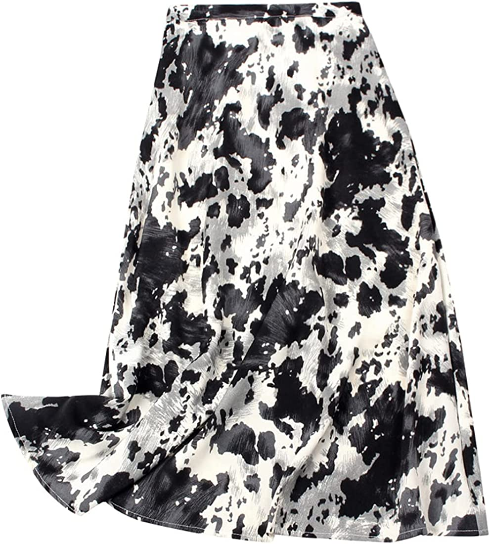 Globalwells Women Summer Boho Maxi High Waist Skirt Floral Print Pleated Swing Beach A-Line Midi Chiffon Skirt