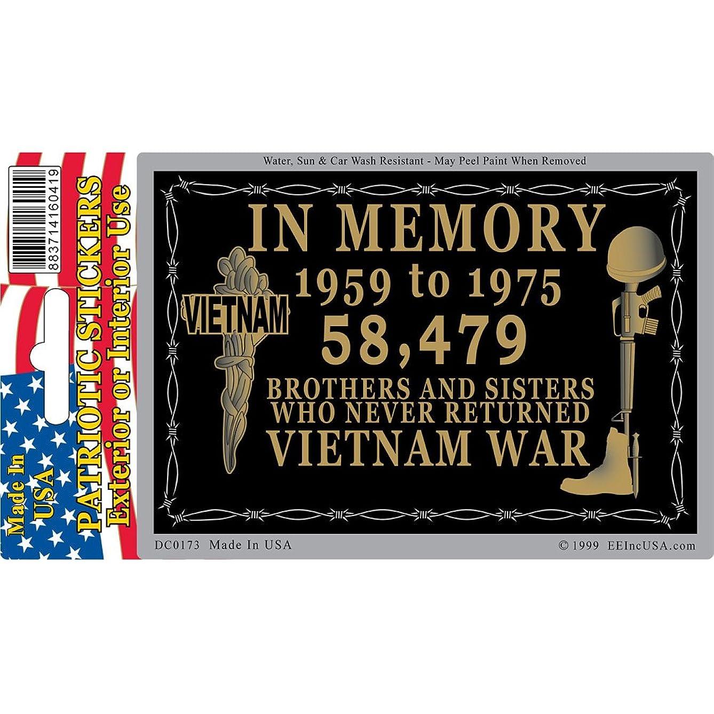 EagleEmblems DC0173 Sticker-Vietnam,in Memory (3x4'')