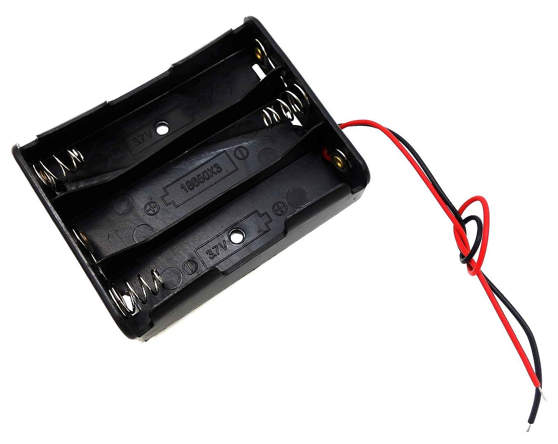 賛辞家分離オーディオファン 電池ボックス 18650 3本 11.1V(3.7V * 3) リード線 ブラック 日本国内より発送