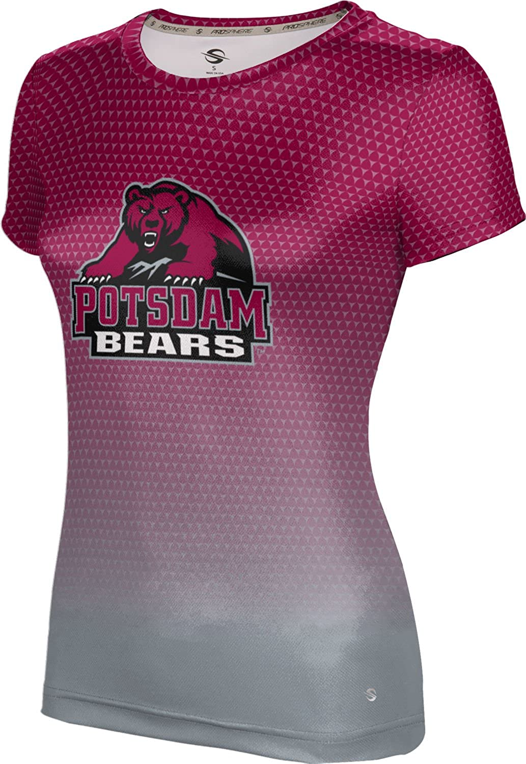 State University of New York at Potsdam Girls' Performance T-Shirt (Zoom) F9AC5 Red and Gray