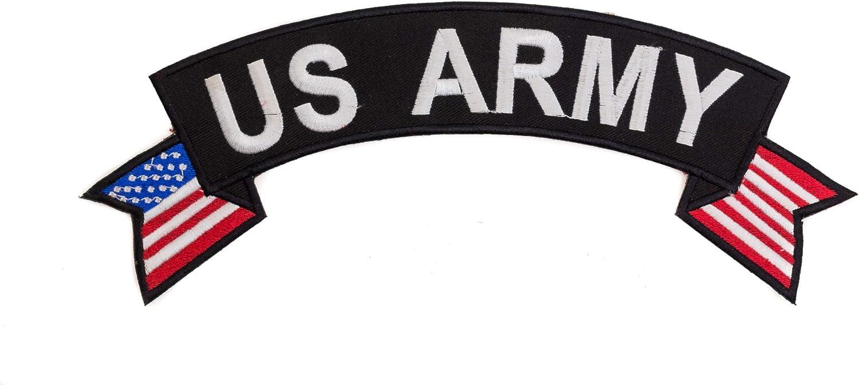 U.S Army White on Black Banner Top Rocker Patch CGI for Biker Vest Jacket