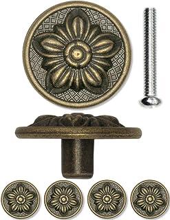 FUXXER® - 4 tiradores de muebles antiguos para cajones diseño rústico bronce hierro y latón 30 x 15 mm diseño floral...