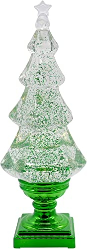"""lowest Eldnacele Musical 14"""" Light-up Christmas Tree Snow Globe Water Glittering outlet online sale Tree Clear lowest Acrylic with USB Line and 6 Hours Timer for Home Decoration online sale"""