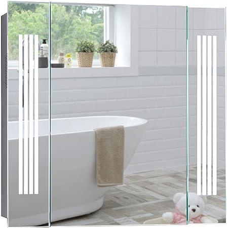 Armoire miroir de salle de bain avec éclairage LED blanc lumière du jour, haut-parleur Bluetooth, avec coussinet anti-buée, sans câble visible, prise de courant, interrupteur à capteur 60x65x13,5cm