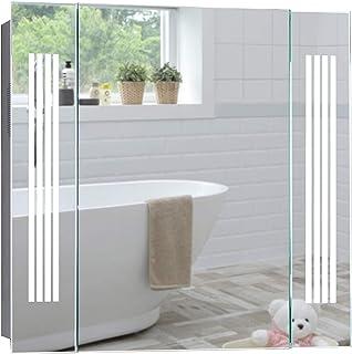 Armoire miroir de salle de bain avec éclairage LED blanc lumière du jour, haut-parleur Bluetooth, avec coussinet anti-bué...