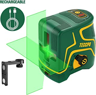 Laser Level 98ft, USB Rechargble, Laser Line Green Cross TECCPO, Self Leveling and Pulse Function, Magnetic Support, 360 ° Rotating, IP54 - TDLS09P