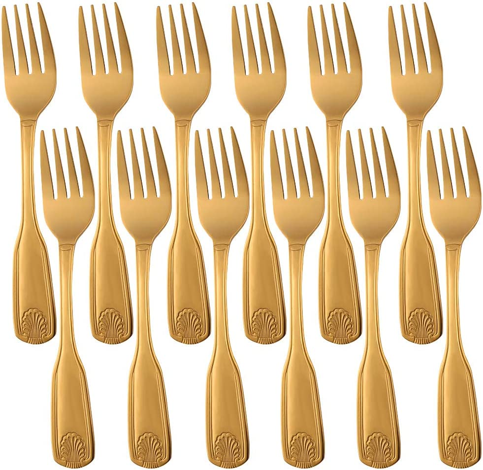 Qiborun Stainless Steel Salad Forks Set of Max 82% OFF Pattern 18 Department store 12 Shell