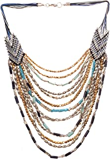 RICHERA Elegant Handmade statemnt Necklace with Knots and Beads Necklace for Women and Girls JewelryQ