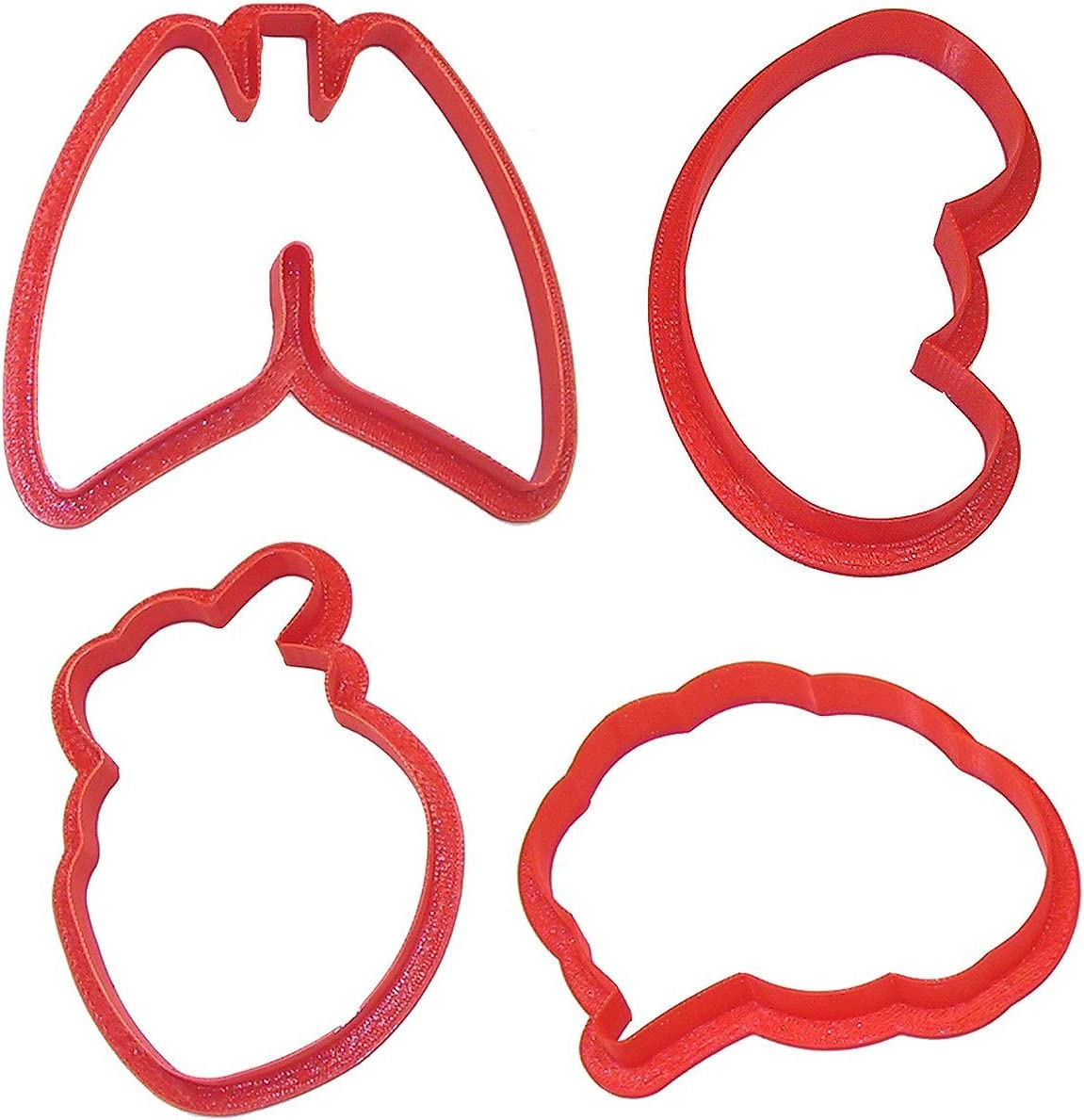 Anatomical Body Parts Cookie Cutter 4 Pc Set – Kidney, Heart, Lungs, Brain Cookie Cutters Hand Made in the USA from Tin Plated Steel