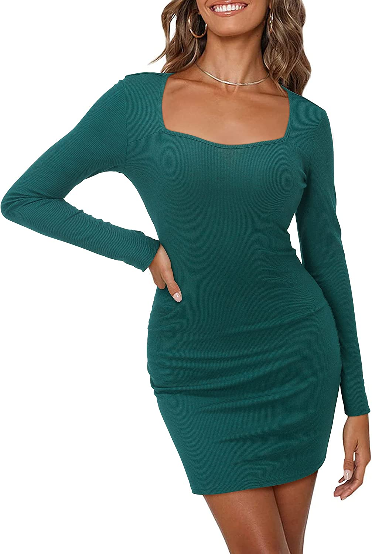 KILIG Women's Square Neck Bodycon Long Sleeve Sexy Club Slim Mini Dress