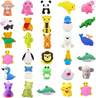 TOOPAIR 30 PCS Super Cute Animal Pencil Erasers | 30 Prime Adorable Erasers Bulk | Corlorful Eraser Set for Game Prizes, Party Favors, Classroom Rewards, Carnivals Gift and School Supplies