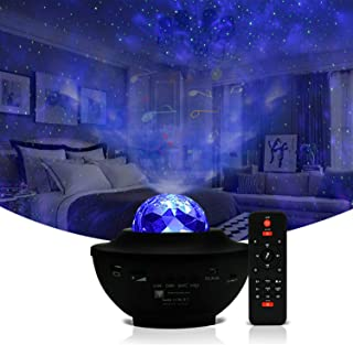 Galaxy Projector Light Ocean Wave Projector,3 in 1 Starry Night Light Projector Bedroom w/LED Nebula Cloud and Bluetooth Music Speaker As Gifts Decor Birthday Party Wedding Bedroom Living