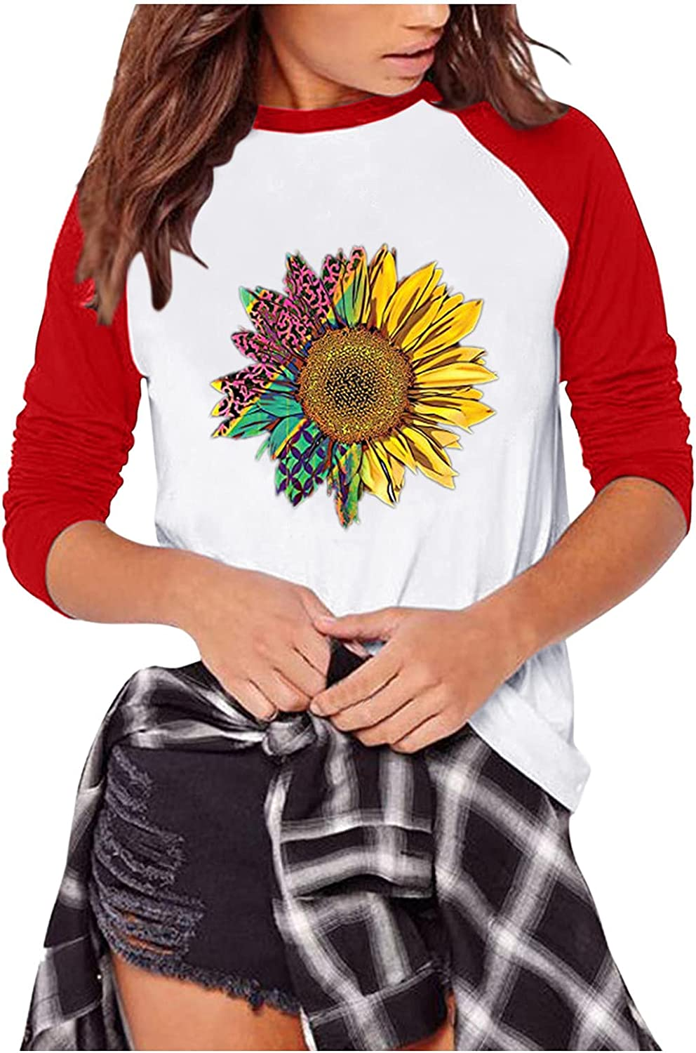 aihihe Long Sleeve Shirts for Women Graphic Color Block Pullover Tunic Tops Sweatshirts Fall Tee Shirts