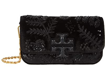 Tory Burch Eleanor Embroidered Velvet Phone Crossbody (Black) Handbags