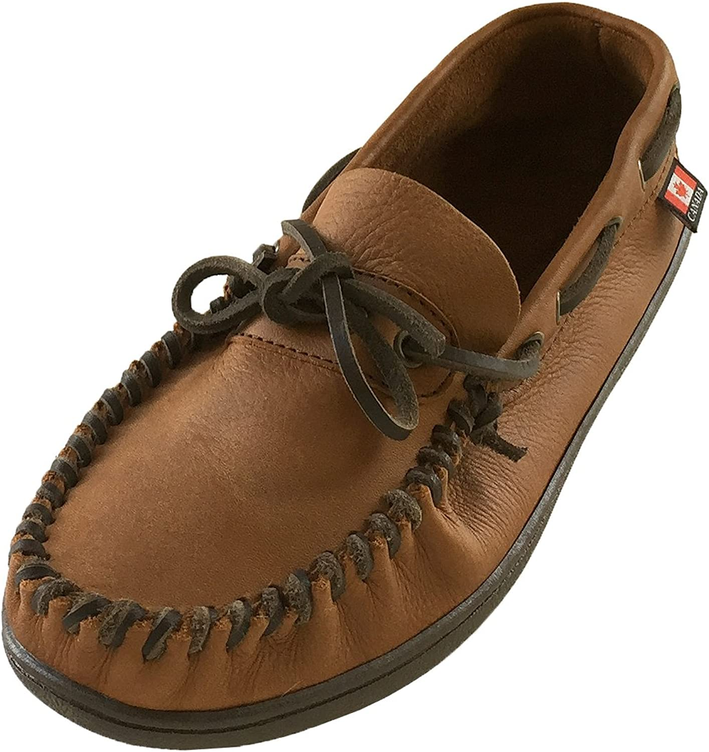 WAKONSUN Men's Wide Width Brown Genuine Leather Loafer Moccasin shoes (10)