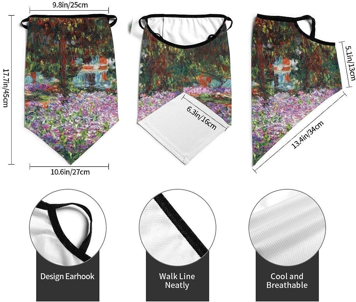 Unisex Face Mask Bandana Irises In Monet'S Garden Ear Loops Balaclava Neck Gaiter Sun Scarf