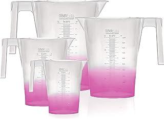 ISOLAB USA 4 قطعه حق بیمه مجموعه ای از لیوان های پلاستیکی آزمایشگاهی با دستگیره ، وضوح بالا ، پلی پروپیلن ، فارغ التحصیلان بزرگ ، قابل اتوکلاو ، 250 میلی لیتر ، 500 میلی لیتر ، 1000 میلی لیتر ، 2000 میلی لیتر