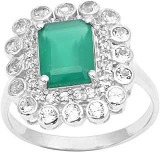 81cf26d96 Octagon Green Onyx & White Topaz 925 Sterling Silver Cluster Wedding Ring
