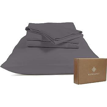 "BIOWEAVES 100% Organic Cotton Sheets, 300 Thread Count 4-Piece GOTS Certified Bed Sheet Set Fits Mattress Upto 17"" Deep Pocket, Soft & Silky Sateen Weave (King, Grey)"