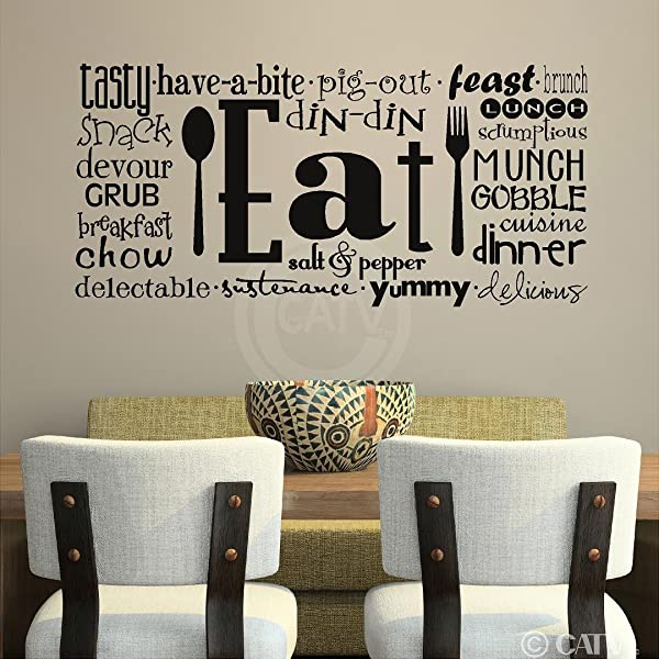Eat Phrases Vinyl Lettering Wall Decal Sticker 16 H X 35 L Black