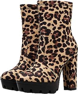 Stivaletti da donna leopardati Moda punta tonda Piattaforma nera Flock Stivali corti da donna Stivali da sposa con tacco s...